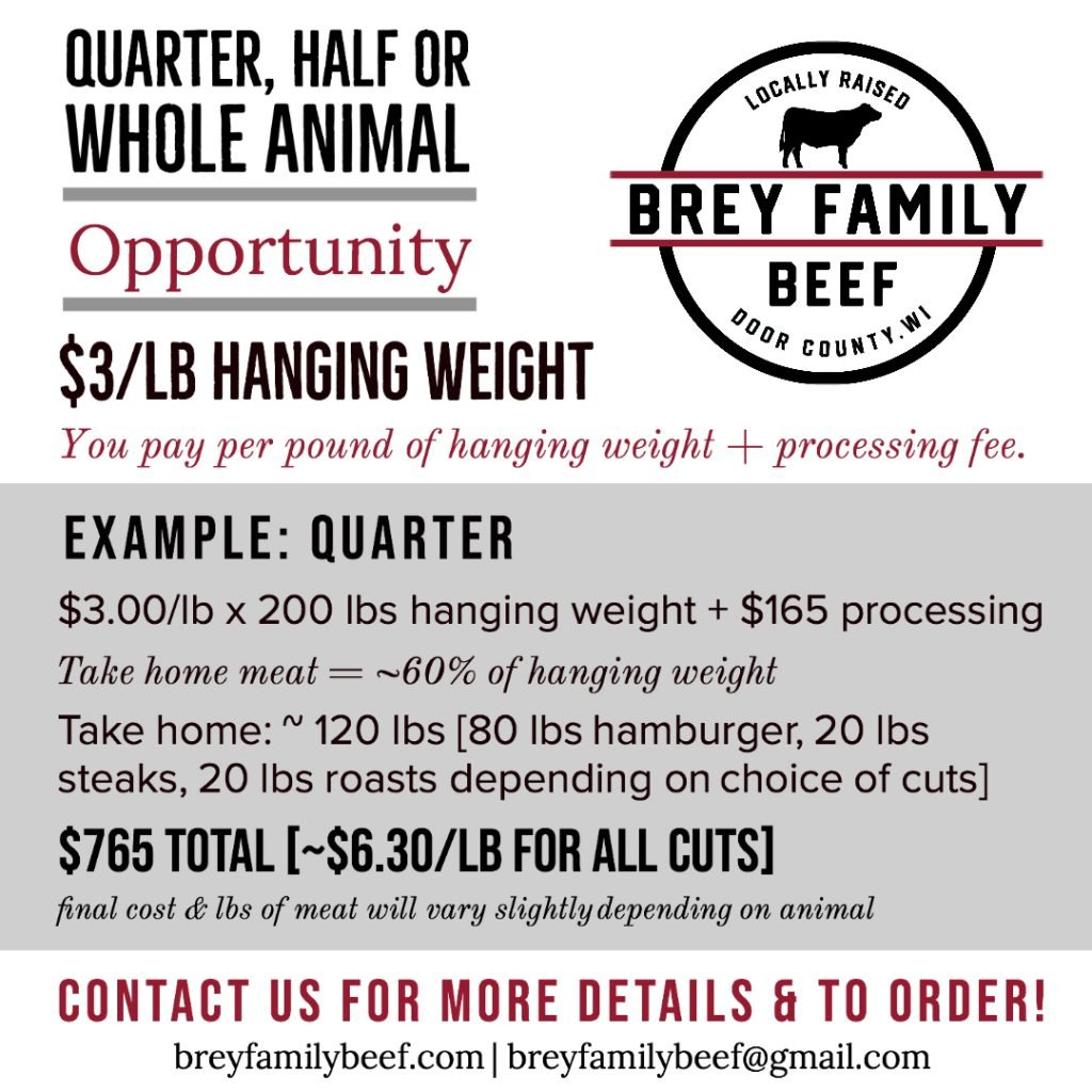 Brey Family Beef quarter, half or whole animal pricing