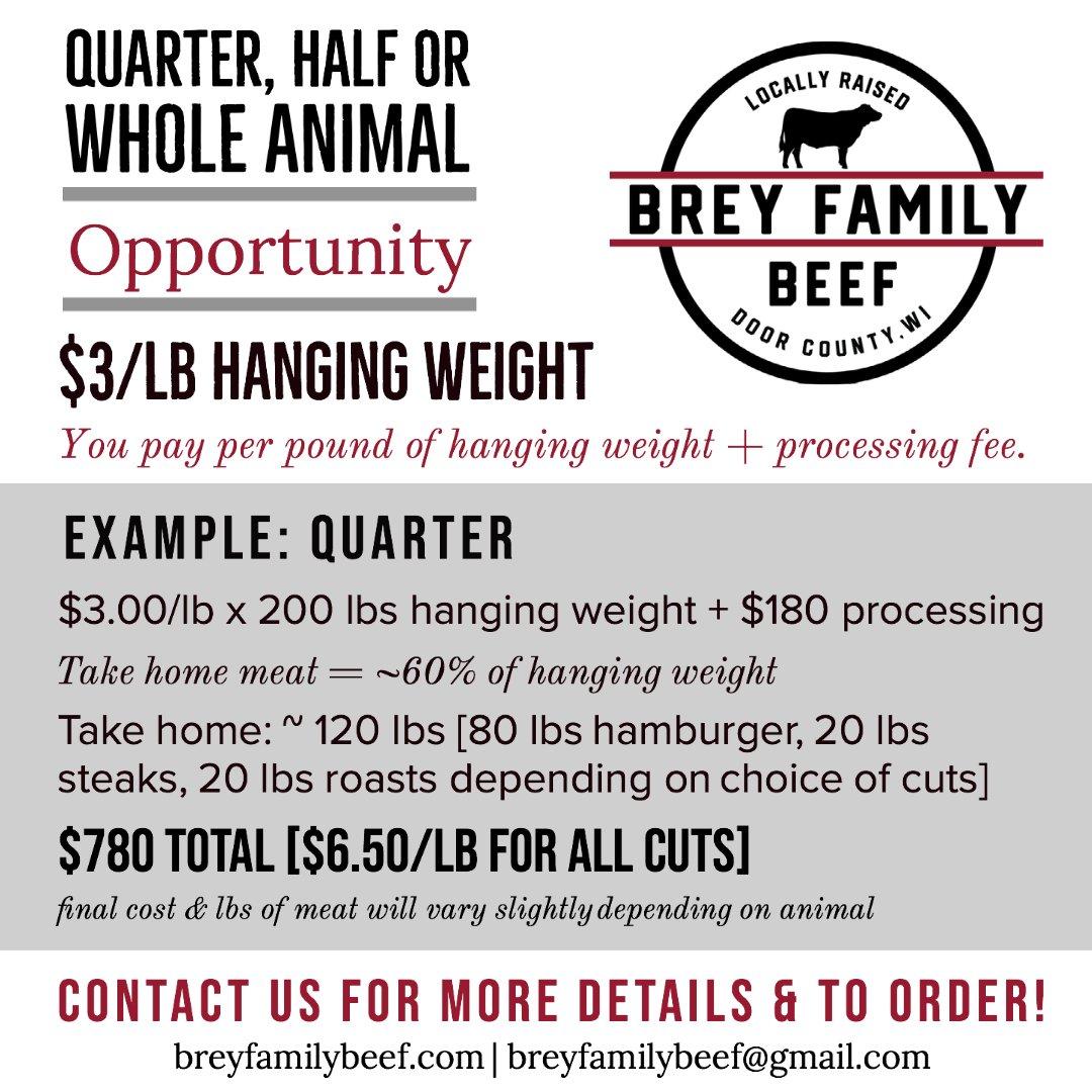 Quarter, half or whole animal pricing